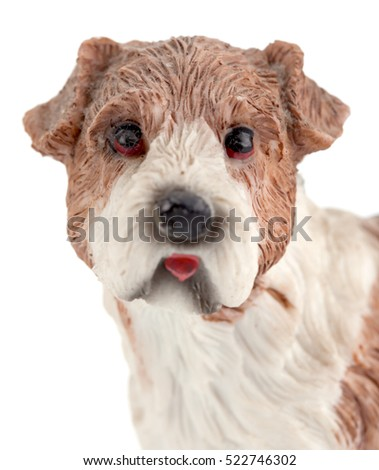 dog ceramic on white background