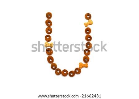 Dog food alphabet - U - stock photo