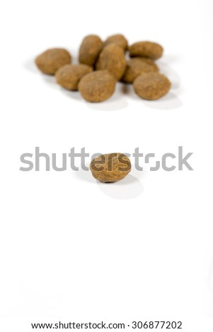 Dog food. An macro image of a dog food. Image taken in a studio. - stock photo