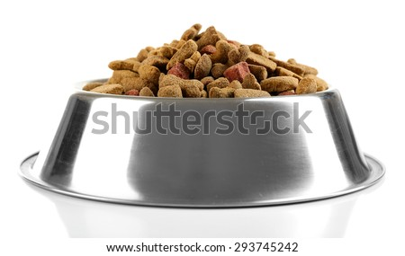 dog food in bowl isolated on white
