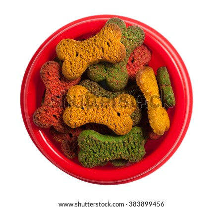 Dog food isolated on white, clipping path. - stock photo