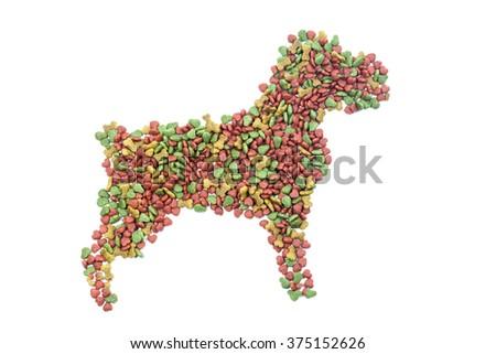 Dog Food Take shape to dog shadow  isolate on white background - stock photo