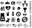 Dog icon set isolated on White background.  illustration - stock photo