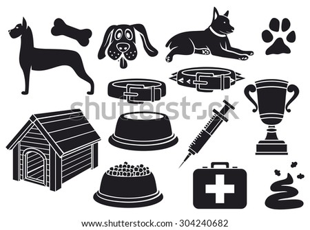 dog icons set (paw print, dog bone, pet food bowl, dog house, poo, syringe, trophy cup, dog collar, pet first aid) - stock photo