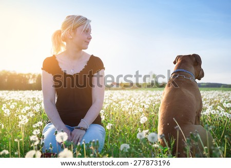 Dog is angry at the girl - stock photo