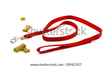 Dog Leash and Biscuits Ready for a Walk - stock photo
