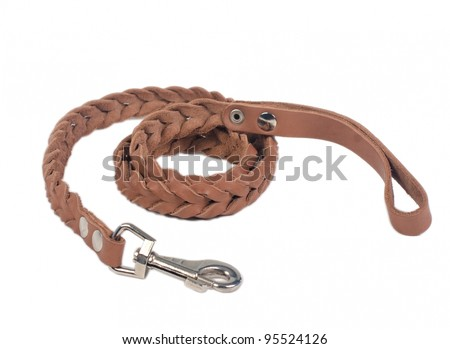 Dog leather leash, isolated on white background - stock photo