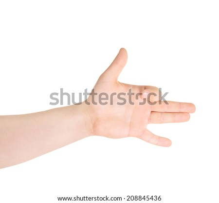 Dog-like sign as caucasian hand gesture isolated over white background