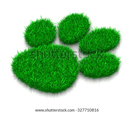 Dog or Cat Green Grass Footprint on White Background 3D Illustration