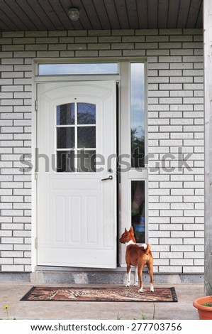 dog owner waiting on the porch at the door - stock photo