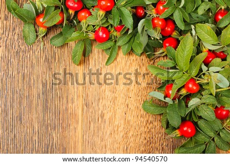 Dog rose on brown wooden fence. Beautiful village background - stock photo