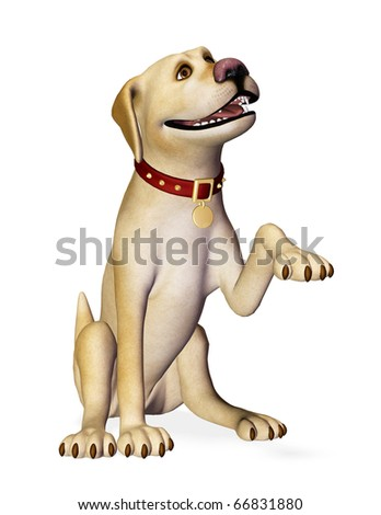 dog shake hand side way - stock photo