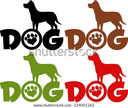Dog Silhouette Over Text With Love Paw Print. Raster Collection Set - stock photo