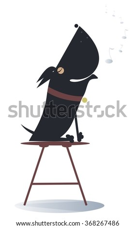 Dog sits on the chair and sings or howls   - stock photo