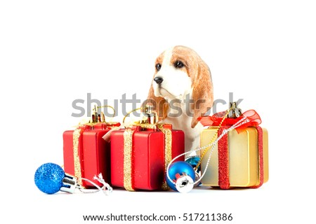 dog toy with gifts for christmas, Christmas decoration