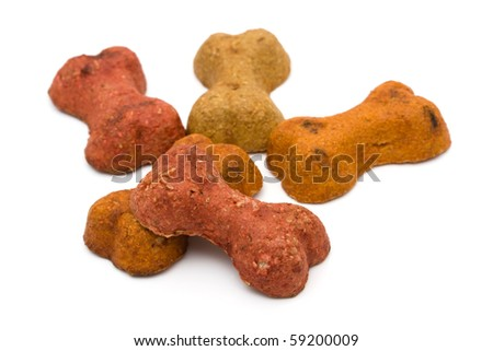 Dog treats isolated on a white background, treat your dog - stock photo