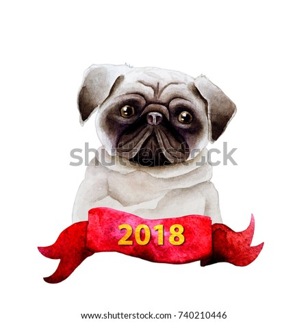 Dog watercolor image. Image can be used for printing on a can of dog food. For the calendar design for 2018