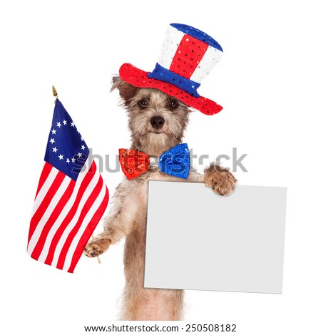 Dog wearing Independence Day hat and tie holding a bicentennial American flag and blank sign