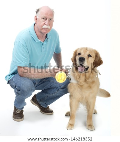 Dog won a golden medal - stock photo