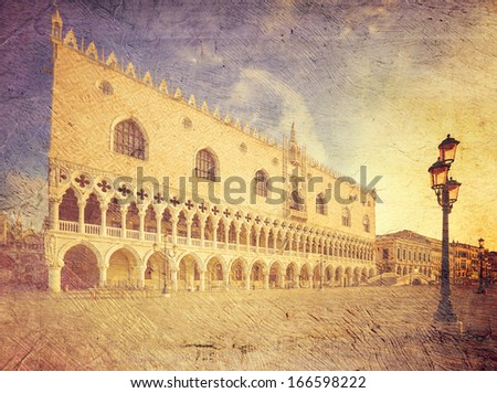 Doge's palace (Palazzo Ducale). Venice. Italy. Picture in artistic retro style. - stock photo