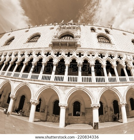 doges palace in Venetian-style architecture in Venice by fisheye lens - stock photo