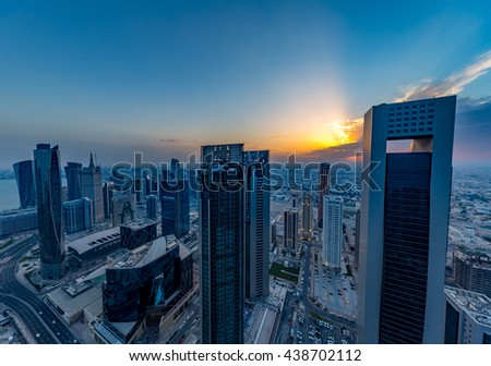 DOHA, QATAR - April 7, 2016: The skyline of the West Bay area of Doha  on April 7, 2016 in Doha, Qatar.