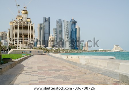 DOHA, QATAR-AUGUST 17:Doha's Corniche in West Bay on August 17, 2015 in Doha, Qatar. The Doha Corniche is a popular location with exciting green surroundings and remarkable modern architecture.