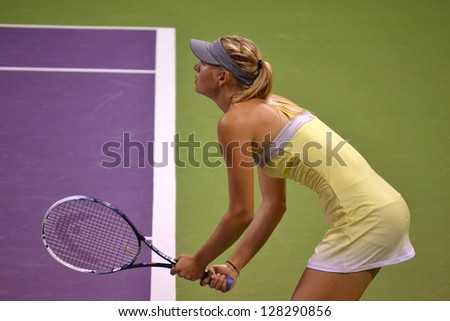 DOHA-QATAR: FEBRUARY 12: Russian Tennis Player Maria Sharapova at Qatar Total Open on February 12, 2013 in Doha, Qatar. The event was held from February 11th till February 17th 2013. - stock photo
