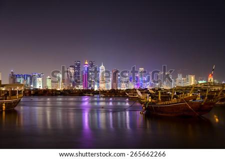 Doha Qatar in the night - stock photo