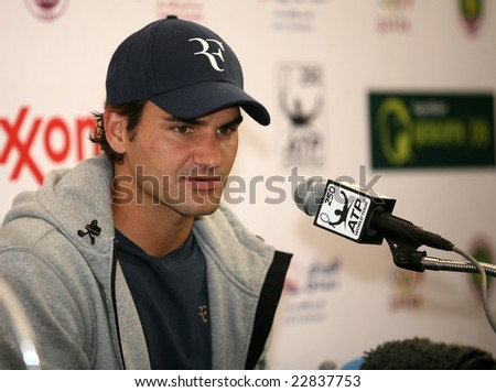 DOHA, Qatar - January 5, 2009: Swiss tennis star Roger Federer gives a press conference at the start of the Qatar ExxonMobil Open tournament 2009.
