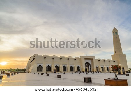 DOHA, QATAR - JULY 23: The State Mosque of Qatar on July 23, 2016 in Doha, Qatar. Sheikh Muhammad Ibn Abdul Wahhab Mosque, also known as The Grand Mosque