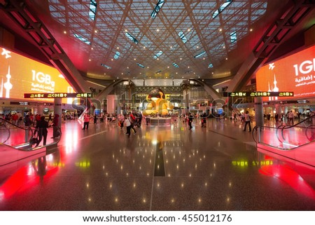 DOHA, QATAR - JUNE 9, 2016: Interior of Hamad International Airport in Doha, Qatar. Base airport are airlines: Qatar Airways.