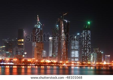 Doha Qatar - Night scene - stock photo