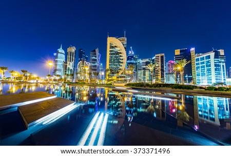 Doha Skyline night shot - stock photo