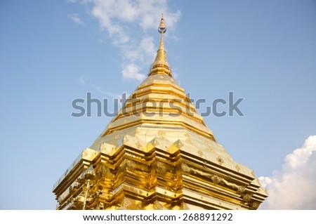 Doi suthep temple pagoda in chiang mai  thailand - stock photo