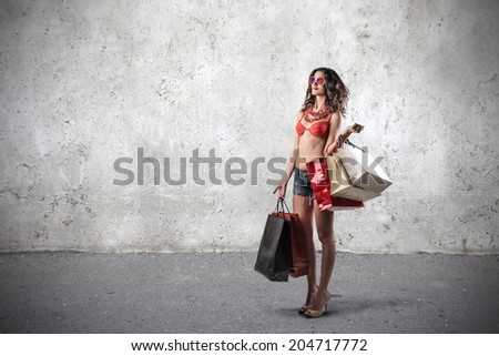 doing shopping in the summer - stock photo