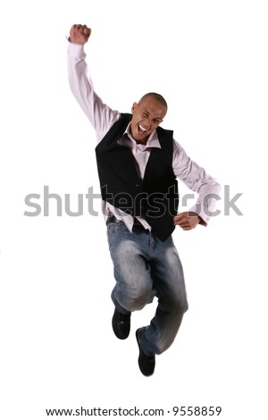Doing Successful Business Young businessman jumping in joy - over pure white background.