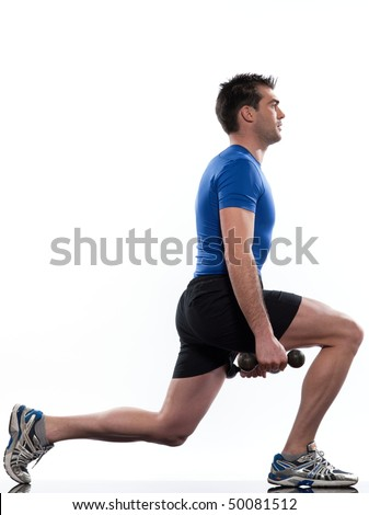 doing workout on white isolated background - stock photo