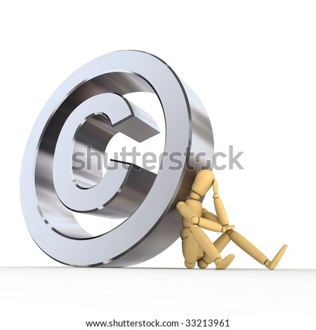 doll/lay figure sitting at/next to a metal copyright sign wondering - low camera angle - stock photo