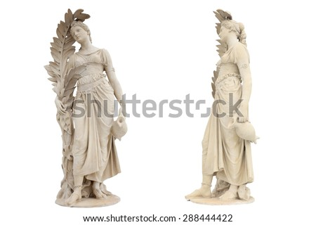 Doll stucco decorations ancient Italian art public park in Ayutthaya city tour of Thailand. This was isolated on white background with clipping path. - stock photo