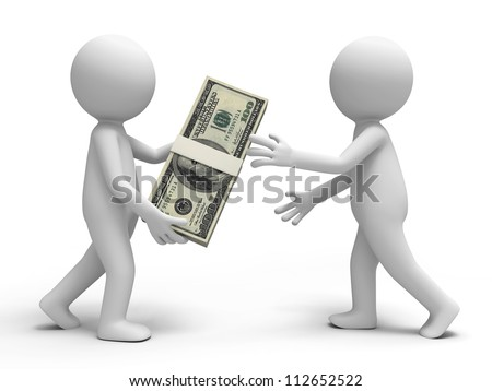 Dollar/a person giving a bundle of dollars to another one - stock photo