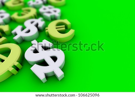 Dollar and euro concept with silver dollar symbols and gold euro symbols over green background - stock photo