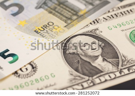 dollar and euro money - stock photo