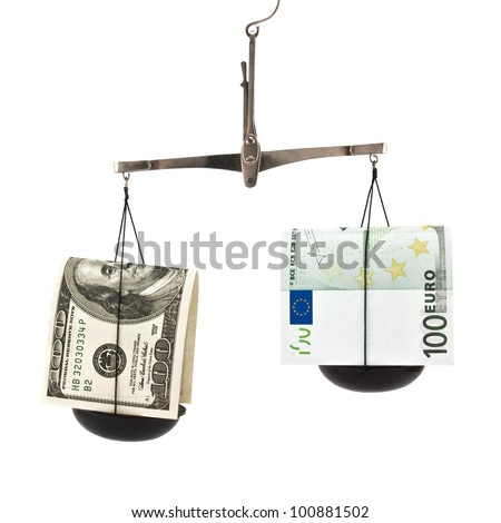 dollar and euro on scales isolated on white background - stock photo