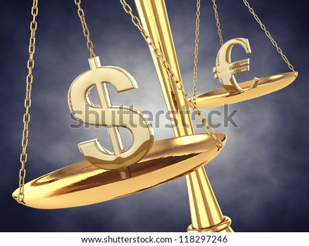 Dollar and euro signs on a brass scale , 3d illustration - stock photo