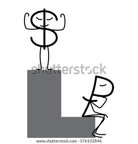 Dollar and ruble characters. Proud dollar standing on high step and sad ruble sitting in low step. Profit and loss diagrams. Concept of difference in exchange rates - stock photo