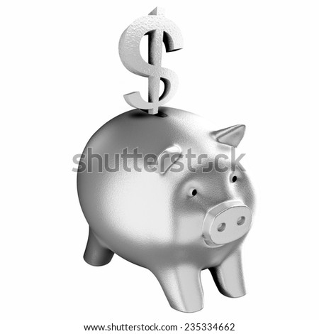 dollar and silver piggy bank  - stock photo