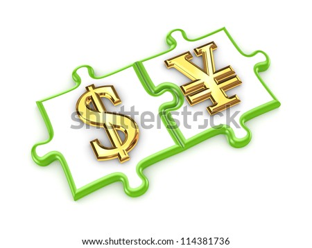 Dollar and yen symbols on puzzles.Isolated on white background.3d rendered. - stock photo