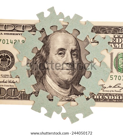 Dollar bank note money with puzzle - stock photo