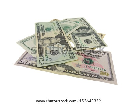 Dollar bank notes stack with Clipping patch included. Isolated on white background.